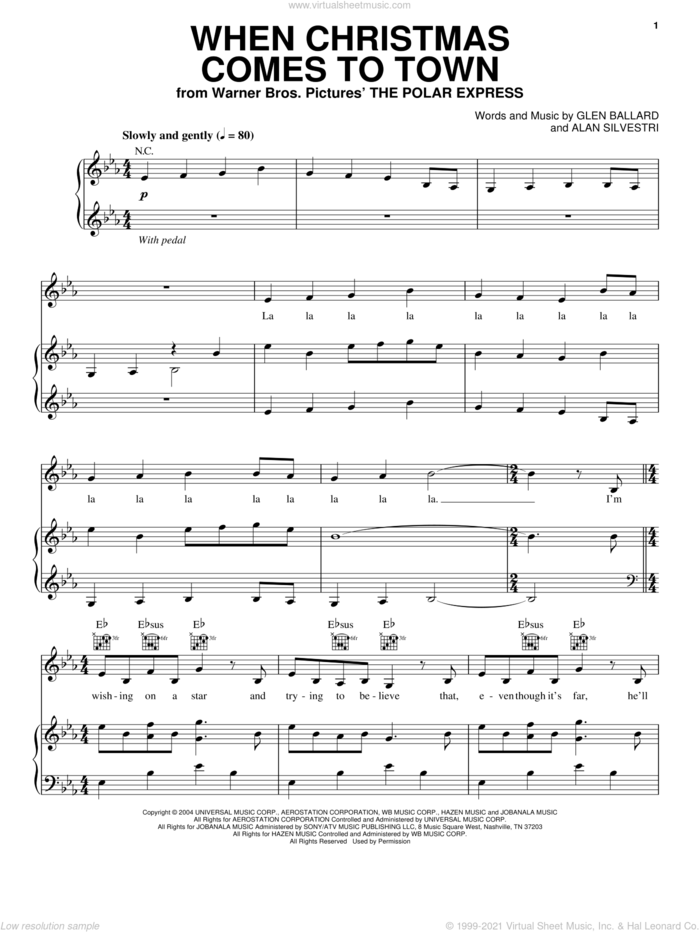 When Christmas Comes To Town sheet music for voice, piano or guitar by Glen Ballard and Alan Silvestri, intermediate skill level