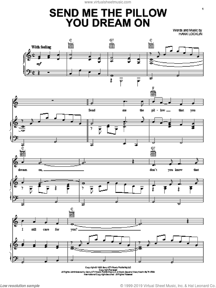 Send Me The Pillow You Dream On sheet music for voice, piano or guitar by Hank Locklin, Dean Martin and Johnny Tillotson, intermediate skill level