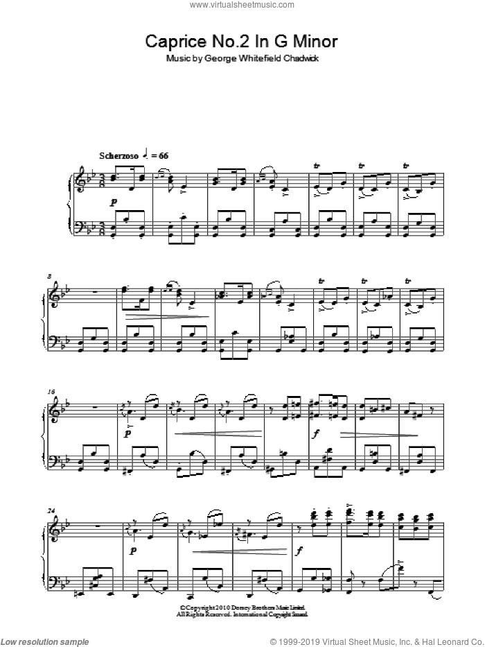 Caprice No. 2 In G Minor sheet music for piano solo by George Whitefield Chadwick, classical score, intermediate skill level