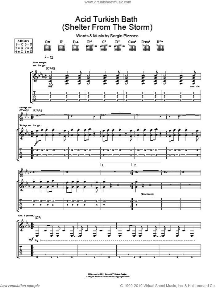 Acid Turkish Bath (Shelter From The Storm) sheet music for guitar (tablature) by Kasabian and Sergio Pizzorno, intermediate skill level
