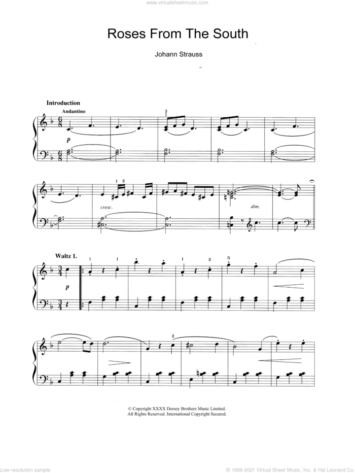 Roses From The South sheet music for piano solo by Johann Strauss, Jr., classical score, intermediate skill level