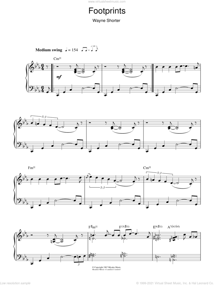 Footprints sheet music for piano solo by Wayne Shorter, intermediate skill level