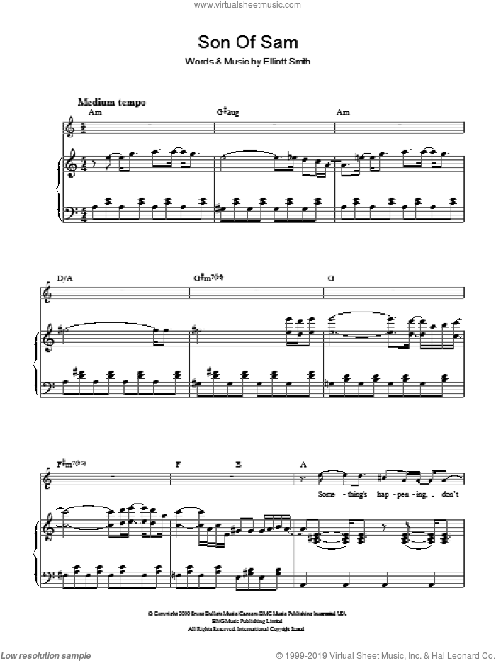 Son Of Sam sheet music for voice, piano or guitar by Elliott Smith and Elliot Smith, intermediate skill level