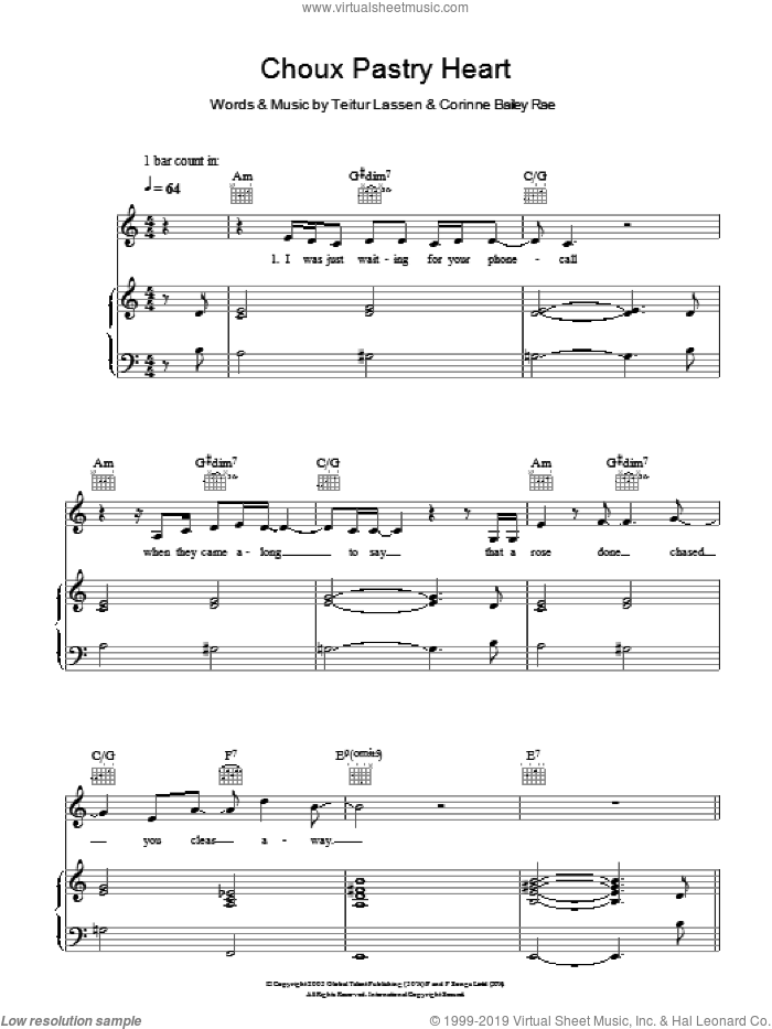 Choux Pastry Heart sheet music for voice, piano or guitar by Corinne Bailey Rae and Teitur Lassen, intermediate skill level