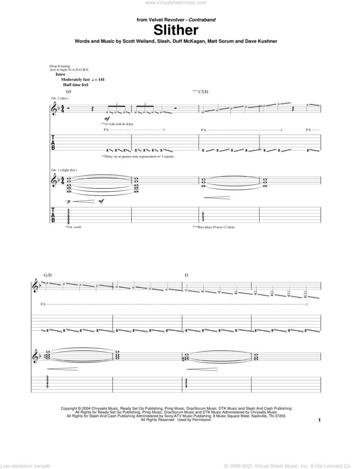 Slither sheet music for guitar (tablature) by Velvet Revolver, Dave Kushner, Duff McKagan, Matt Sorum, Scott Weiland and Slash, intermediate skill level