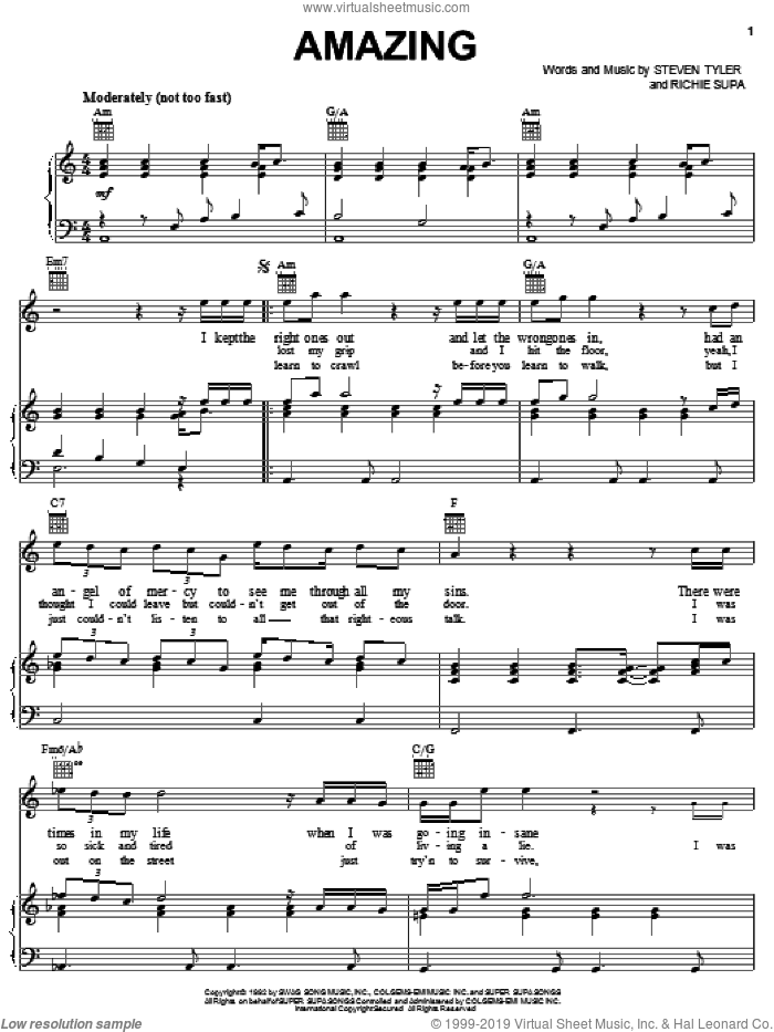 Amazing (It's Amazing) sheet music for voice, piano or guitar by Aerosmith, Richie Supa and Steven Tyler, intermediate skill level