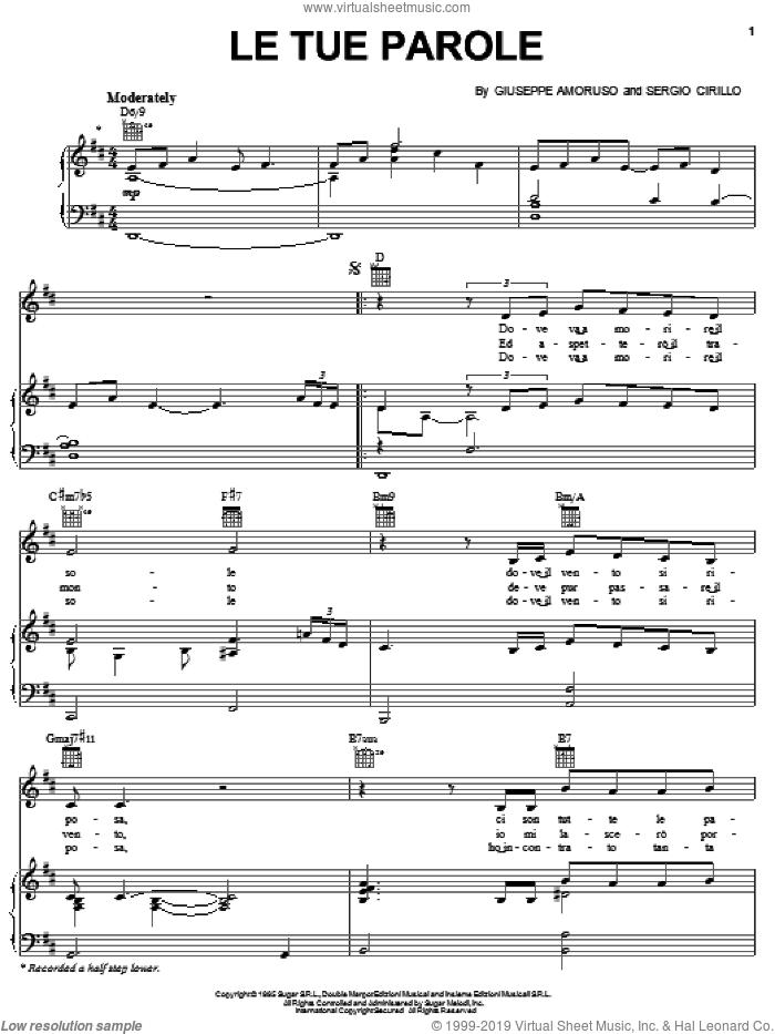 Le Tue Parole sheet music for voice, piano or guitar by Andrea Bocelli, Giuseppe Amoruso and S. Cirillo, classical score, intermediate skill level