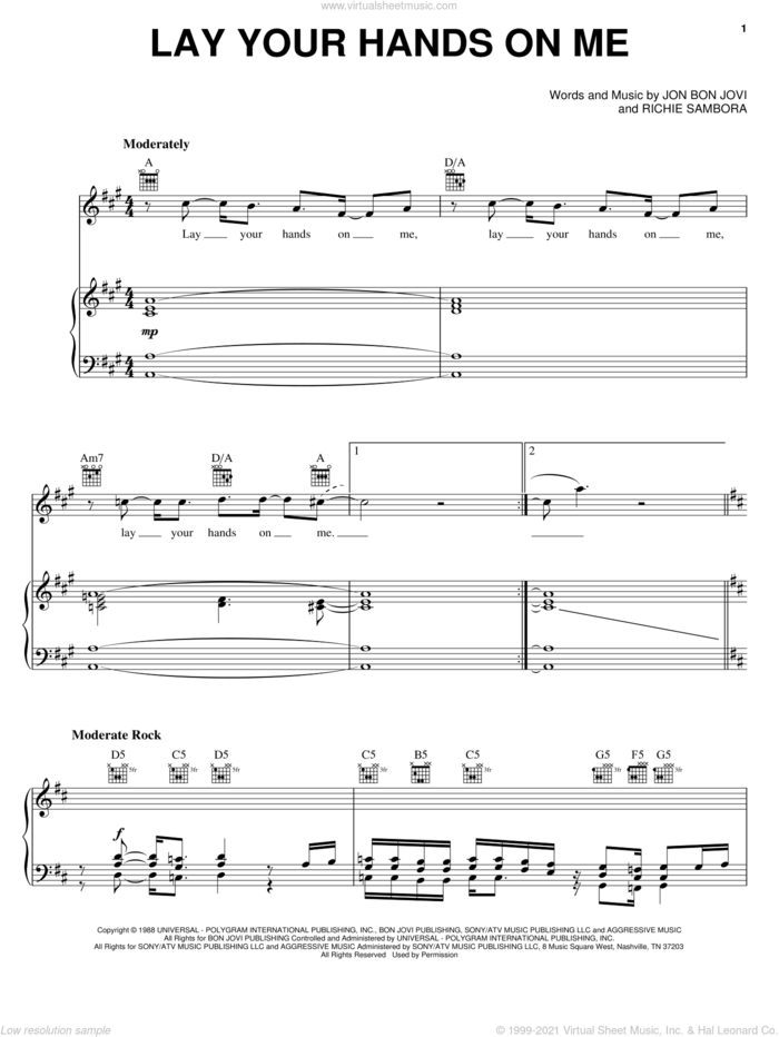 Lay Your Hands On Me sheet music for voice, piano or guitar by Bon Jovi and Richie Sambora, intermediate skill level