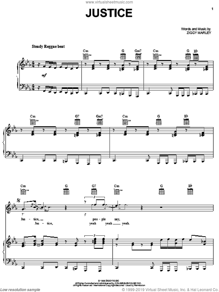 Justice sheet music for voice, piano or guitar by Ziggy Marley, intermediate skill level