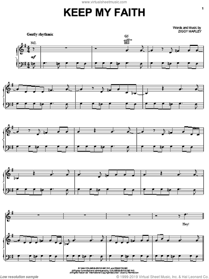 Keep My Faith sheet music for voice, piano or guitar by Ziggy Marley, intermediate skill level