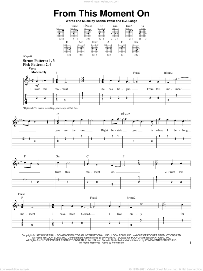 From This Moment On sheet music for guitar solo (easy tablature) by Shania Twain and Robert John Lange, wedding score, easy guitar (easy tablature)