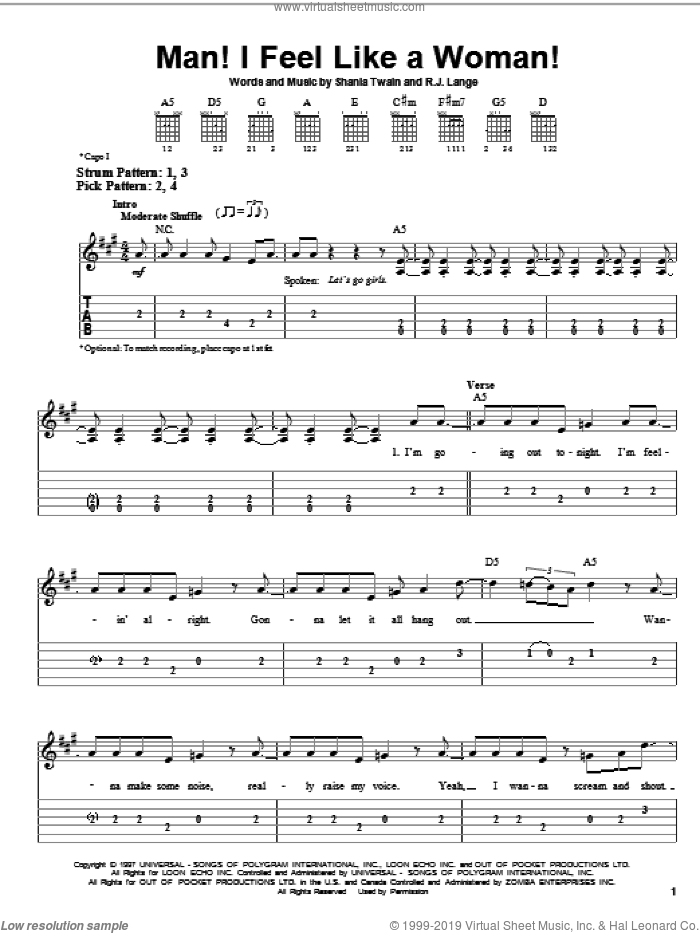 Man! I Feel Like A Woman! sheet music for guitar solo (easy tablature) by Shania Twain and Robert John Lange, easy guitar (easy tablature)