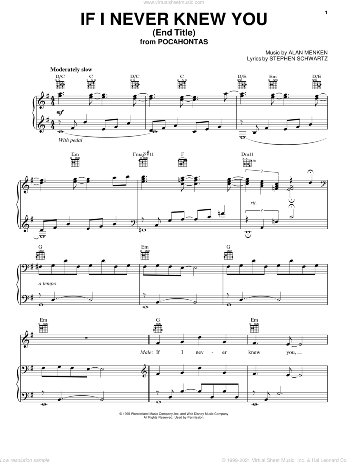 If I Never Knew You (Love Theme from POCAHONTAS) sheet music for voice, piano or guitar by Jon Secada, Shanice, Alan Menken and Stephen Schwartz, intermediate skill level