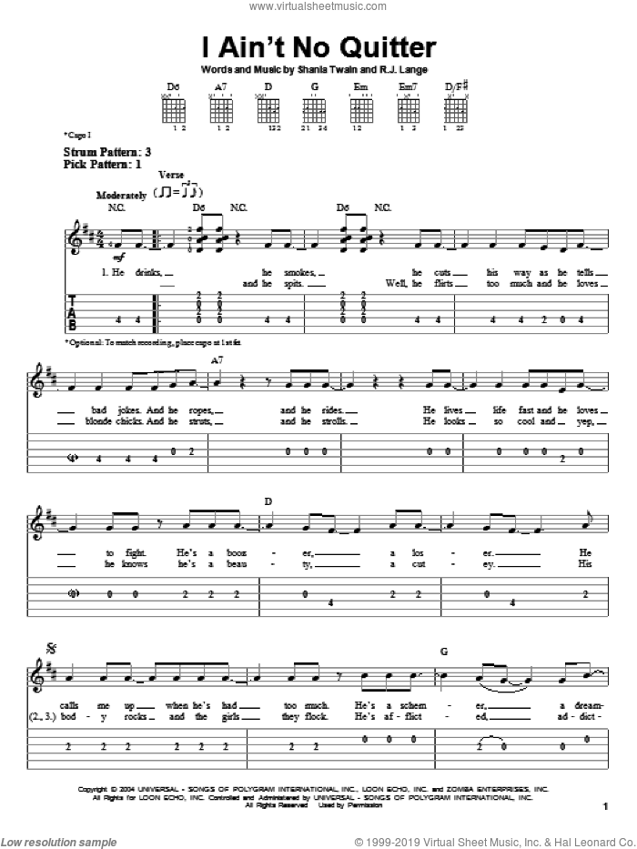 I Ain't No Quitter sheet music for guitar solo (easy tablature) by Shania Twain and Robert John Lange, easy guitar (easy tablature)