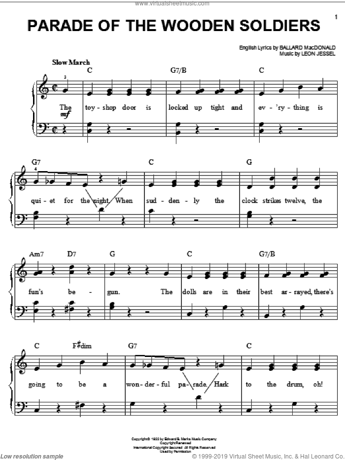 Parade Of The Wooden Soldiers, (easy) sheet music for piano solo by Ballard MacDonald and Leon Jessel, easy skill level