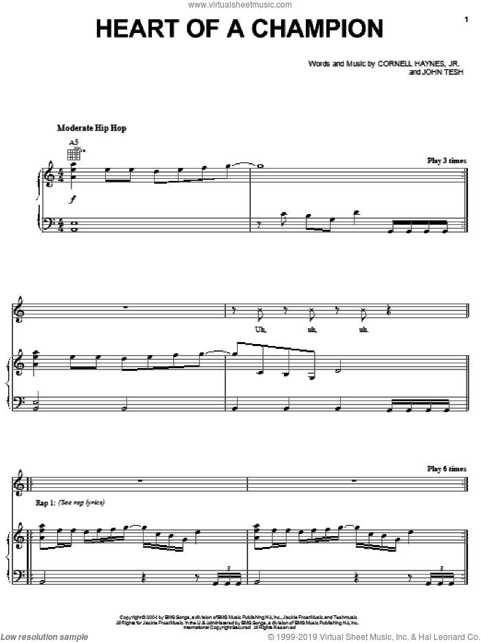Heart Of A Champion sheet music for voice, piano or guitar by Nelly, Cornell Haynes, Jr. and John Tesh, intermediate skill level