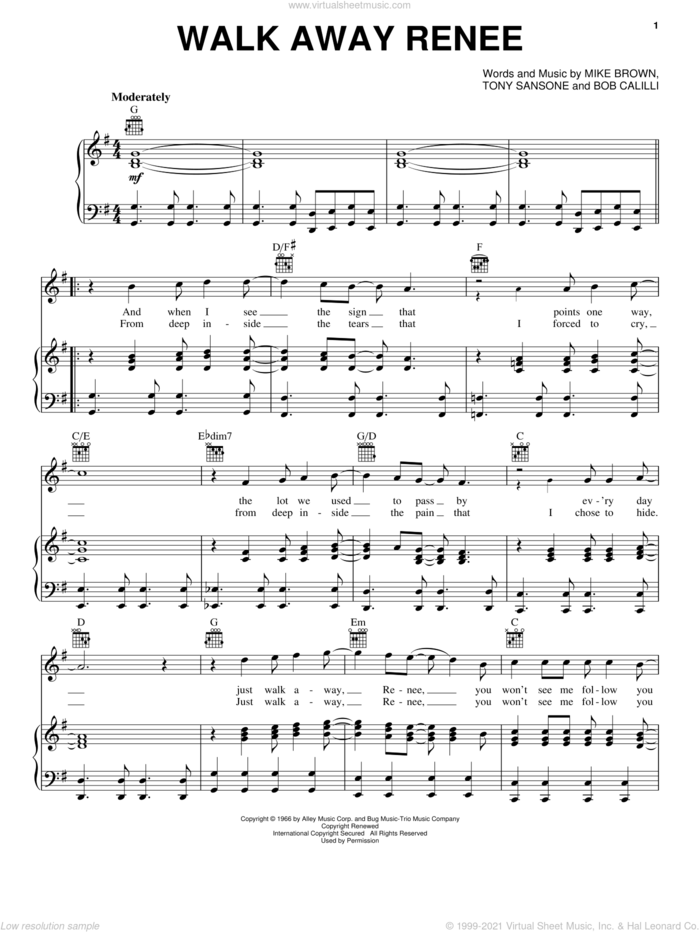Walk Away Renee sheet music for voice, piano or guitar by The Four Tops, The Left Banke, Bob Calilli, Mike Brown and Tony Sansone, intermediate skill level