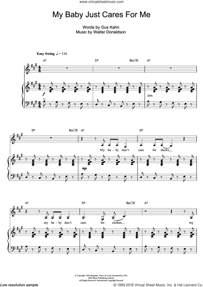 My Baby Just Cares For Me sheet music for voice, piano or guitar by Nina Simone, Gus Kahn and Walter Donaldson, intermediate skill level