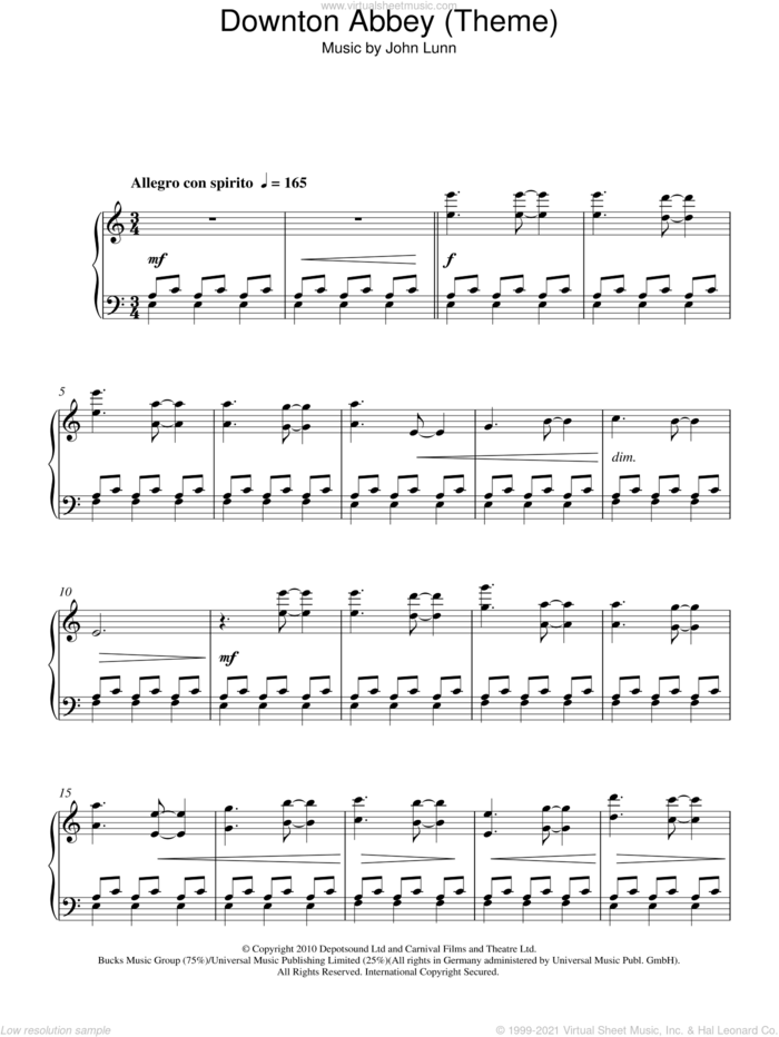 Downton Abbey (Theme), (intermediate) sheet music for piano solo by John Lunn, intermediate skill level