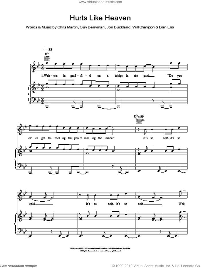 Hurts Like Heaven sheet music for voice, piano or guitar by Coldplay, Brian Eno, Chris Martin, Guy Berryman, Jon Buckland and Will Champion, intermediate skill level