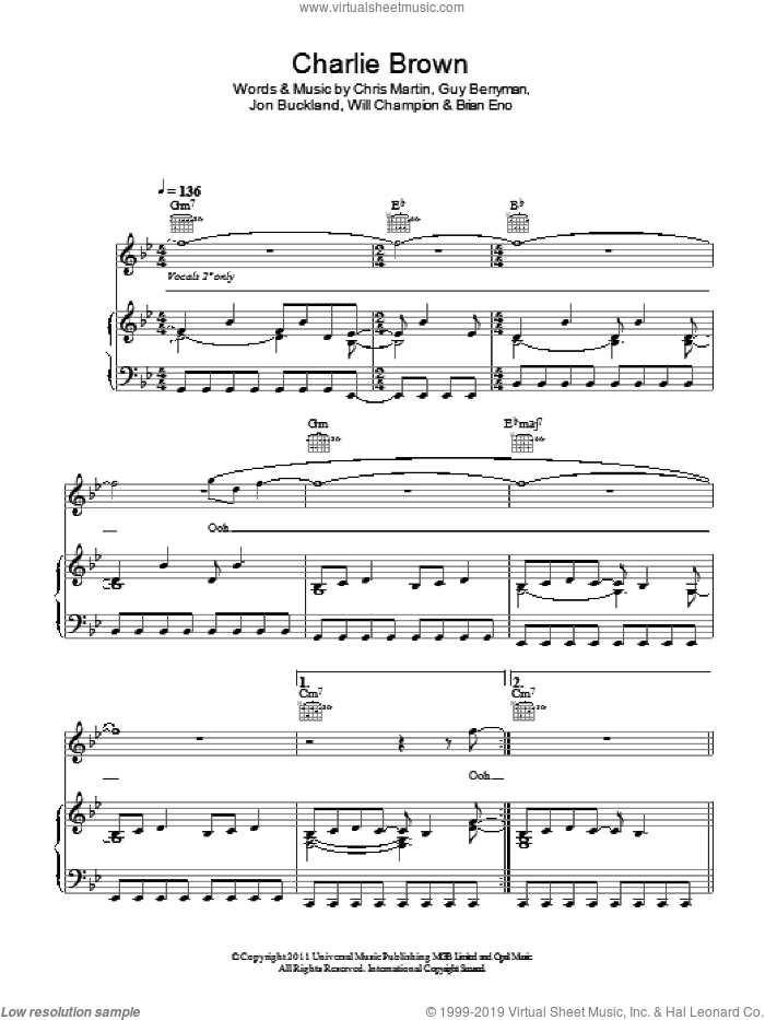 Charlie Brown sheet music for voice, piano or guitar by Coldplay, Brian Eno, Chris Martin, Guy Berryman, Jon Buckland and Will Champion, intermediate skill level