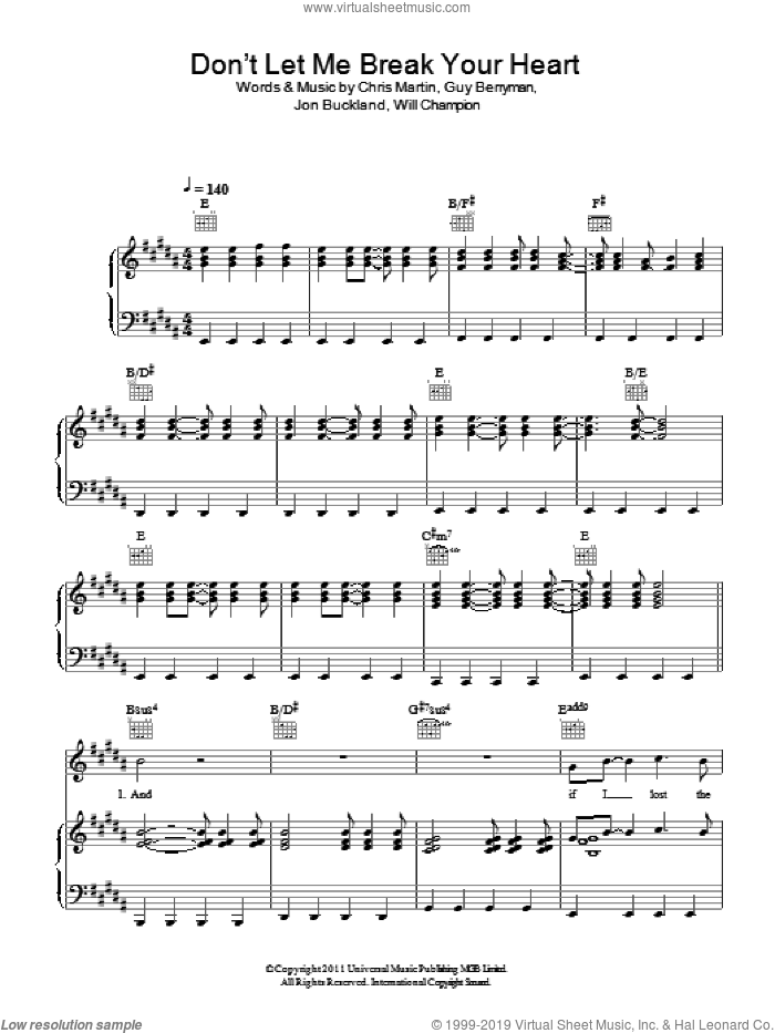 Don't Let It Break Your Heart sheet music for voice, piano or guitar by Coldplay, Chris Martin, Guy Berryman, Jon Buckland and Will Champion, intermediate skill level