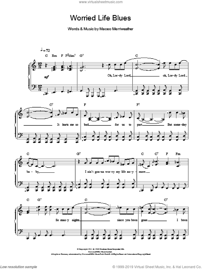 Worried Life Blues sheet music for voice and piano by Maceo Merriweather, intermediate skill level