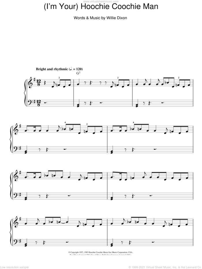 (I'm Your) Hoochie Coochie Man sheet music for piano solo by Muddy Waters and Willie Dixon, easy skill level