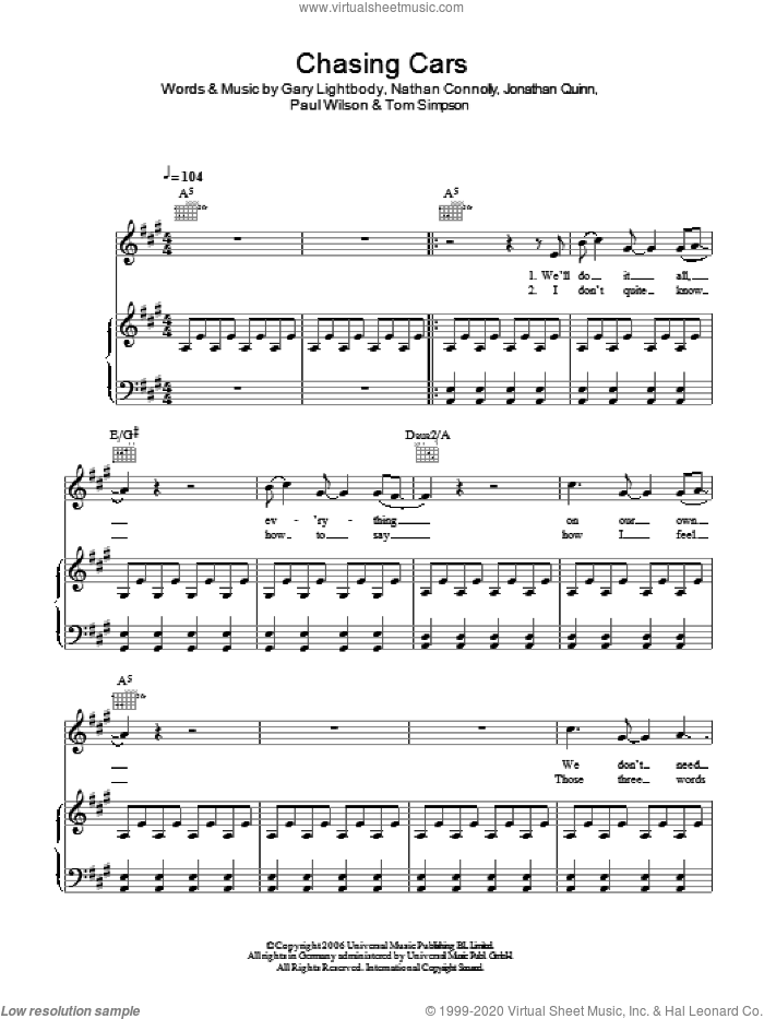 Chasing Cars sheet music for voice, piano or guitar by Snow Patrol, Gary Lightbody, Jonathan Quinn, Nathan Connolly, Paul Wilson and Tom Simpson, intermediate skill level