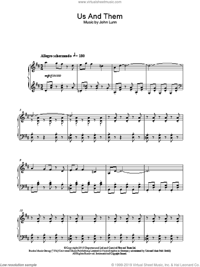 Us And Them sheet music for piano solo by John Lunn, intermediate skill level