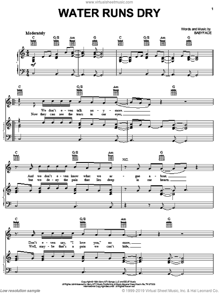 Water Runs Dry sheet music for voice, piano or guitar by Boyz II Men and Babyface, intermediate skill level