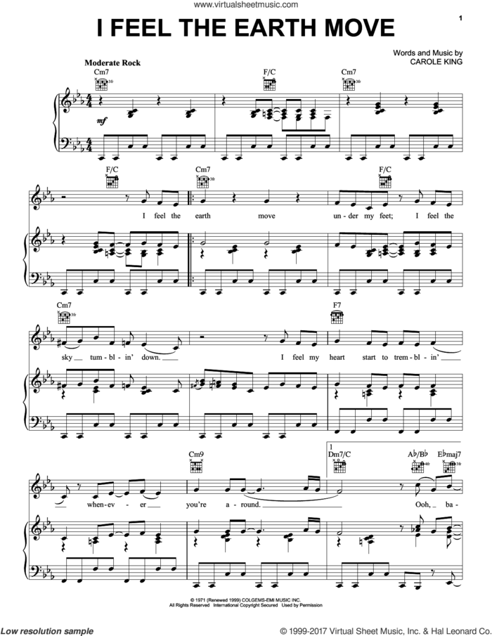 I Feel The Earth Move sheet music for voice, piano or guitar by Carole King, intermediate skill level