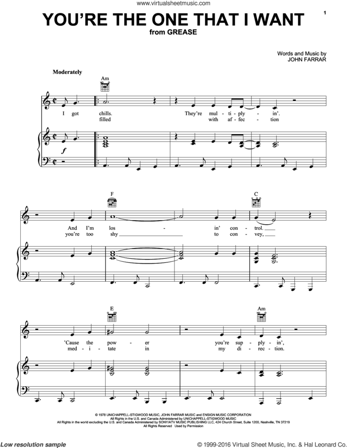 You're The One That I Want (from Grease) sheet music for voice, piano or guitar by Olivia Newton-John & John Travolta, John Travolta, Olivia Newton-John and John Farrar, intermediate skill level