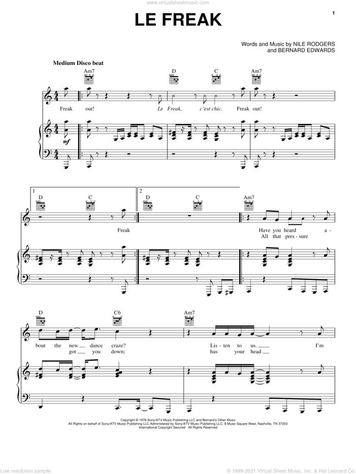 Le Freak sheet music for voice, piano or guitar by Chic, Toy Story 3 (Movie), Bernard Edwards and Nile Rodgers, intermediate skill level
