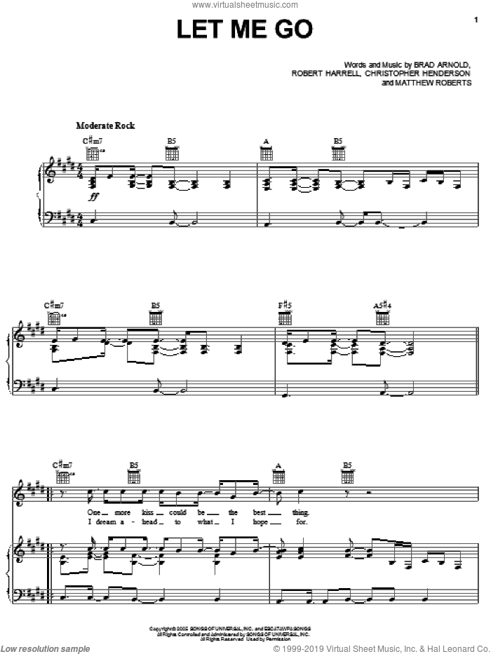 Let Me Go sheet music for voice, piano or guitar by 3 Doors Down, Brad Arnold, Christopher Henderson, Matthew Roberts and Robert Harrell, intermediate skill level