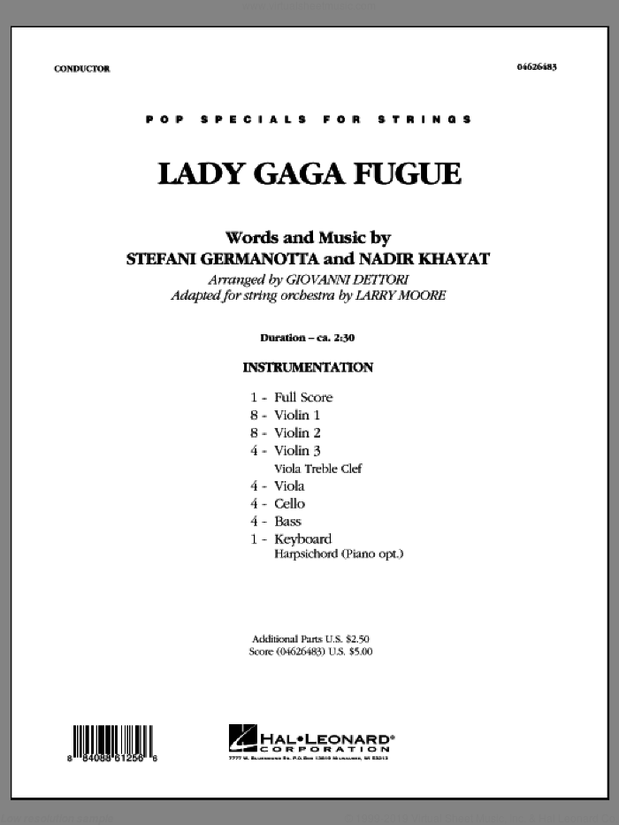 Lady Gaga Fugue (based on 'Bad Romance') (COMPLETE) sheet music for orchestra by Lady Gaga, Nadir Khayat, Giovanni Dettori and Larry Moore, intermediate skill level