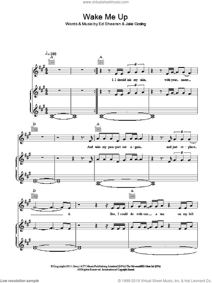 Wake Me Up sheet music for voice, piano or guitar by Ed Sheeran and Jake Gosling, intermediate skill level