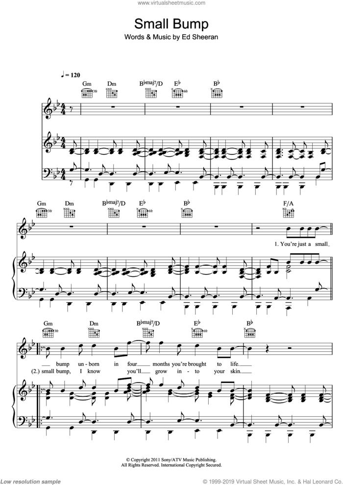 Small Bump sheet music for voice, piano or guitar by Ed Sheeran, intermediate skill level