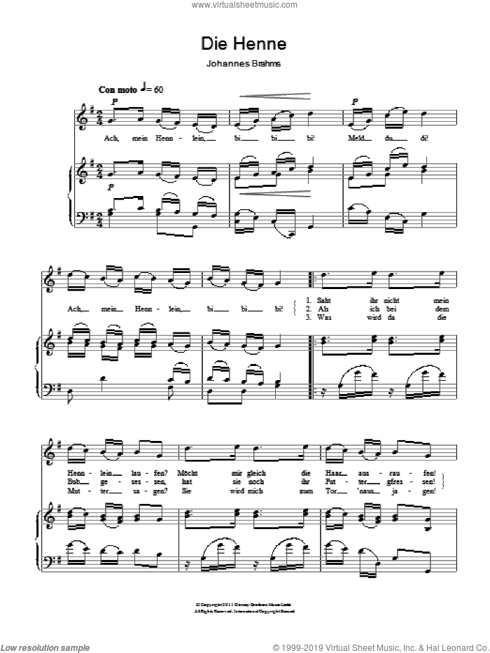 The Hen (Die Henne) sheet music for voice and piano by Johannes Brahms, classical score, intermediate skill level