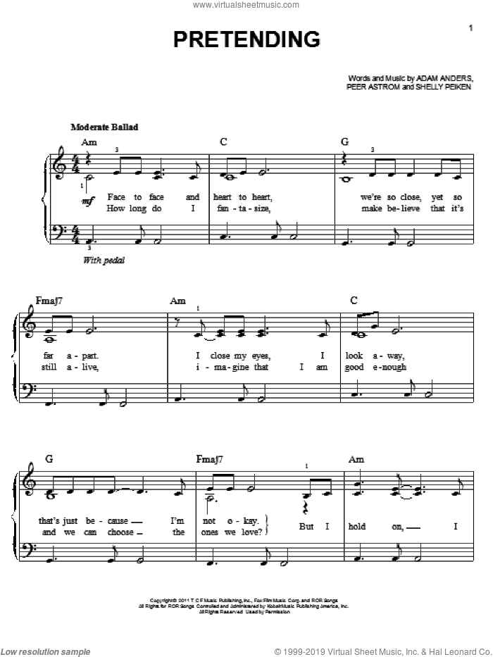 Pretending sheet music for piano solo by Glee Cast, Adam Anders, Miscellaneous, Peer Astrom and Shelly Peiken, easy skill level