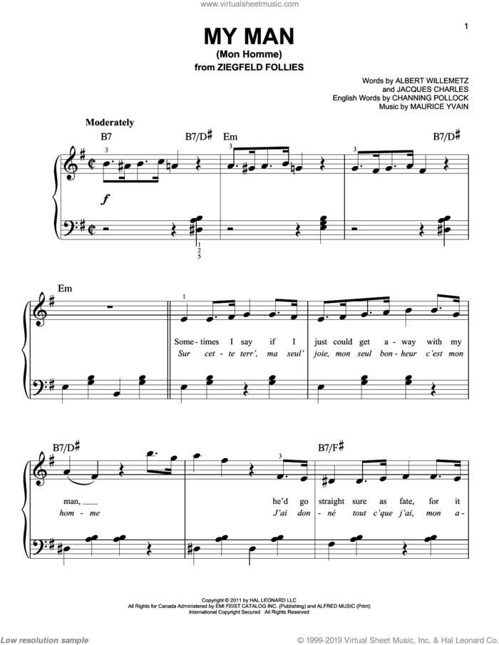 My Man (Mon Homme) sheet music for piano solo by Glee Cast, Albert Willemetz, Channing Pollock, Jacques Charles, Maurice Yvain and Miscellaneous, easy skill level