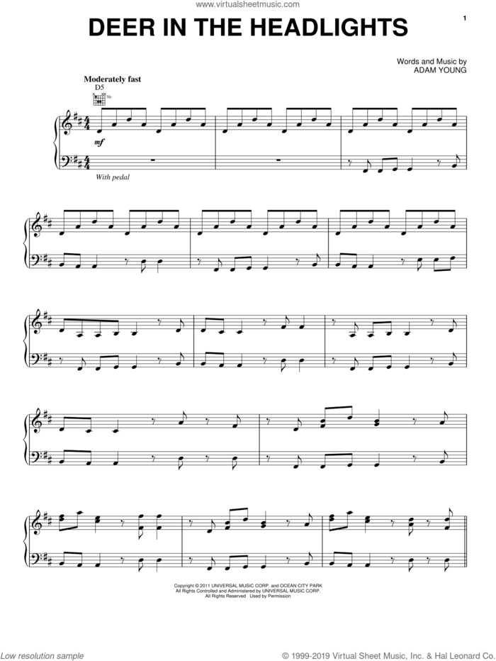 Deer In The Headlights sheet music for voice, piano or guitar by Owl City and Adam Young, intermediate skill level