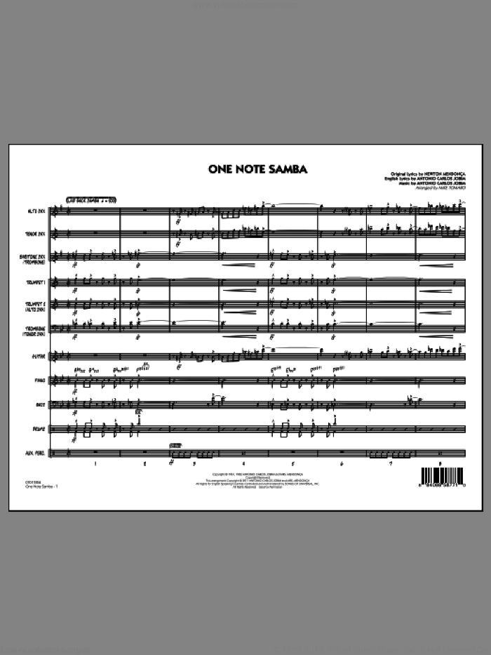 One Note Samba (COMPLETE) sheet music for jazz band by Antonio Carlos Jobim, Newton Mendonca, Pat Thomas and Mike Tomaro, intermediate skill level