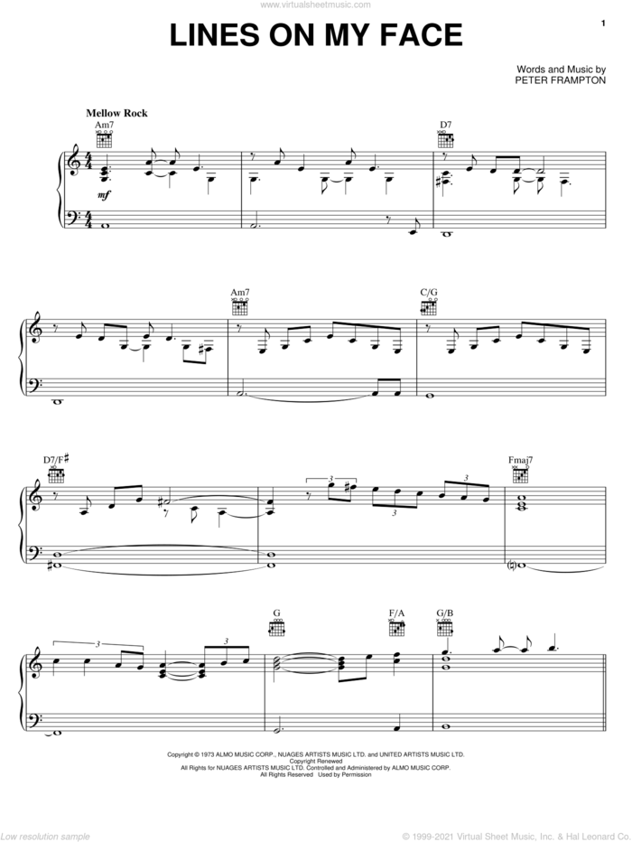 Lines On My Face sheet music for voice, piano or guitar by Peter Frampton, intermediate skill level