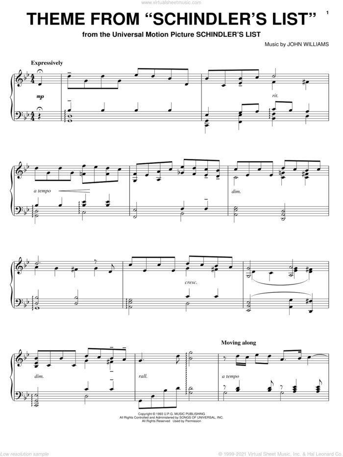 Theme from Schindler's List sheet music for piano solo by John Williams, intermediate skill level