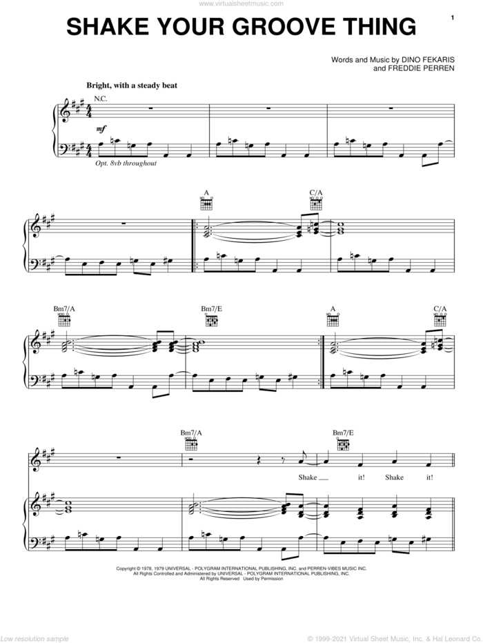 Shake Your Groove Thing sheet music for voice, piano or guitar by Peaches & Herb, Alvin And The Chipmunks: The Squeakquel (Movie), Dino Fekaris and Freddie Parren, intermediate skill level