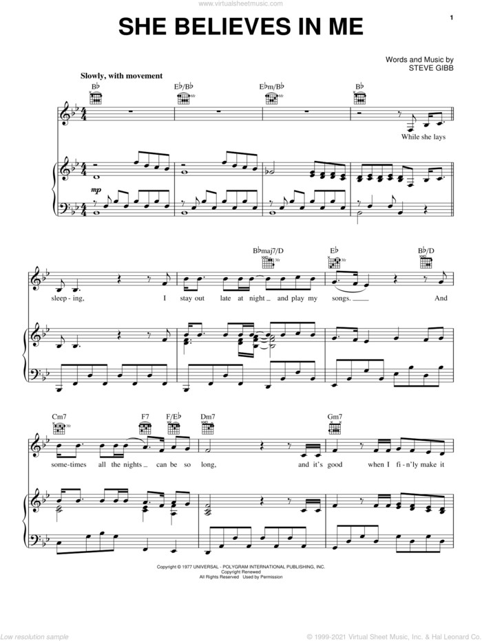 She Believes In Me sheet music for voice, piano or guitar by Kenny Rogers, Tom Jones and Steve Gibb, wedding score, intermediate skill level