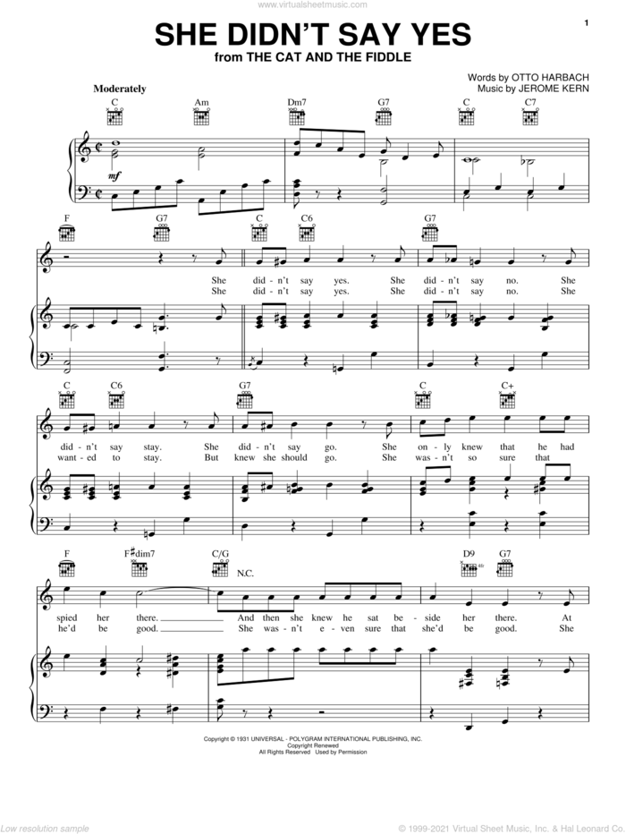 She Didn't Say Yes sheet music for voice, piano or guitar by Peggy Lee, Jerome Kern and Otto Harbach, intermediate skill level