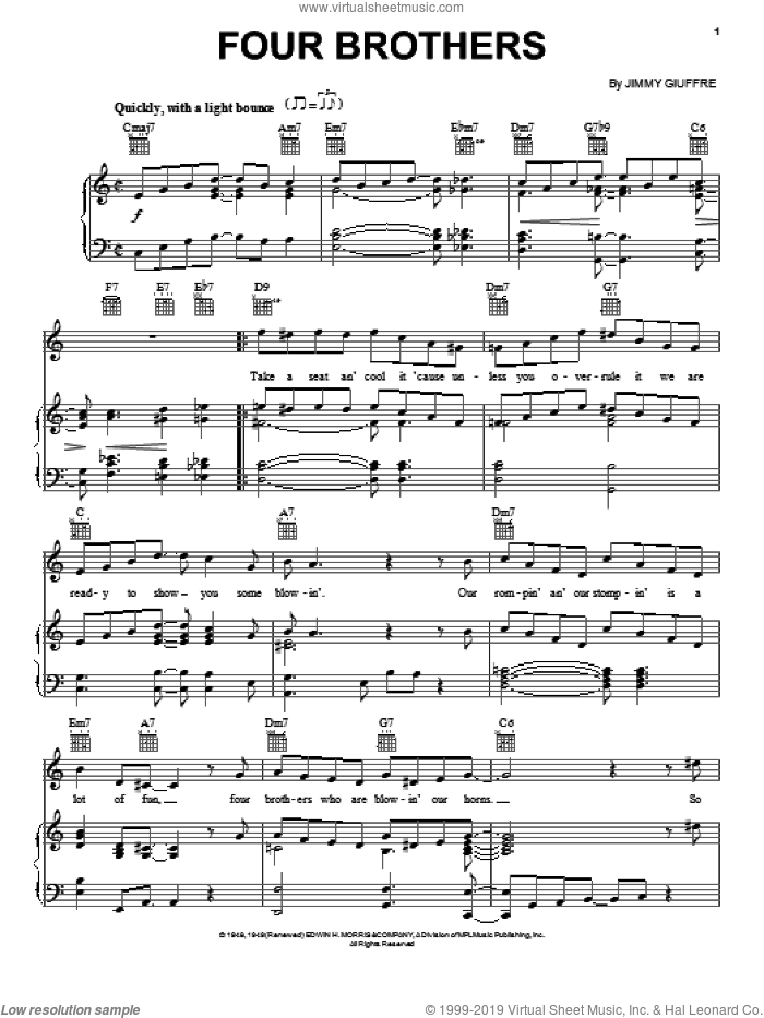 Four Brothers sheet music for voice, piano or guitar by Jimmy Giuffre, intermediate skill level