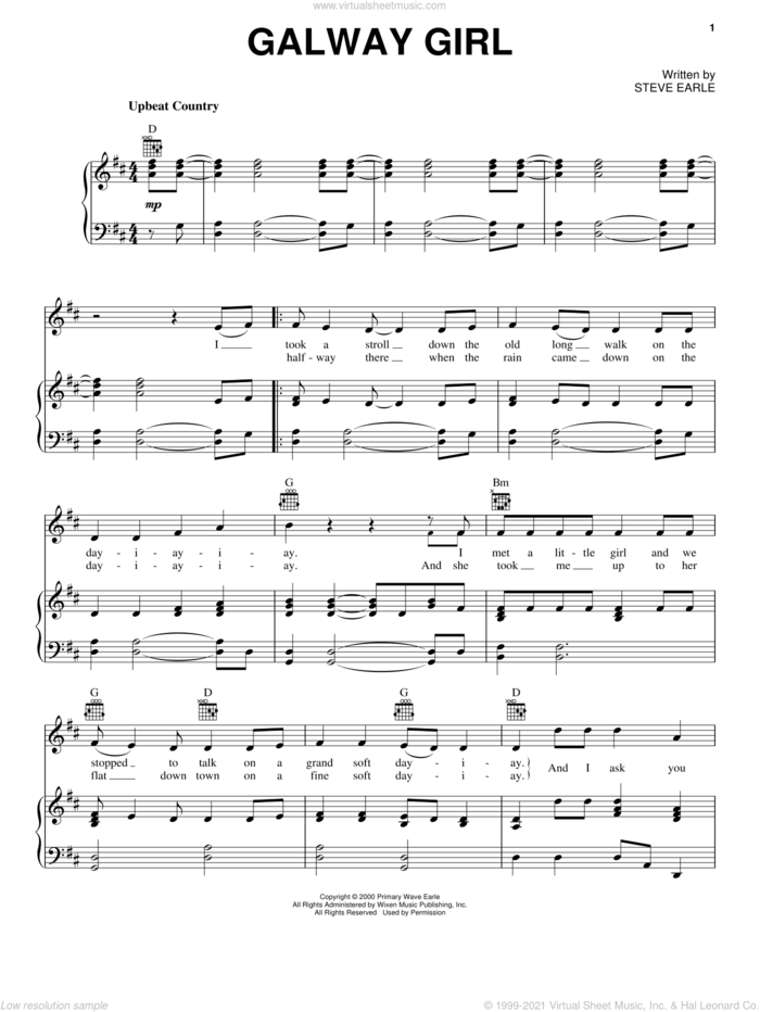 Galway Girl sheet music for voice, piano or guitar by Celtic Thunder and Steve Earle, intermediate skill level